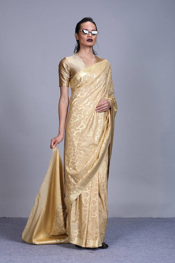 Women's Bhoomi Gold Brocade Saree - Soil colour