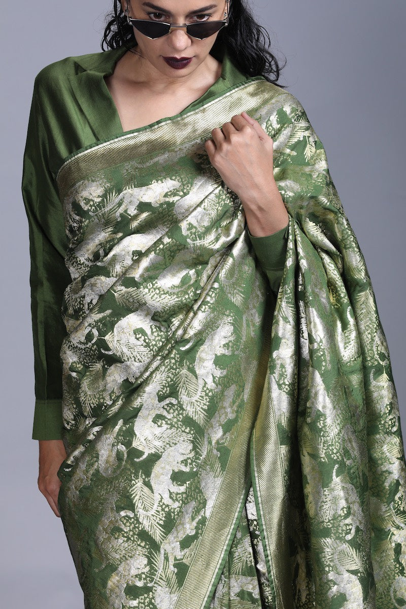 Women's Jeev Gold-Silver Brocade Saree - Forest Green colour