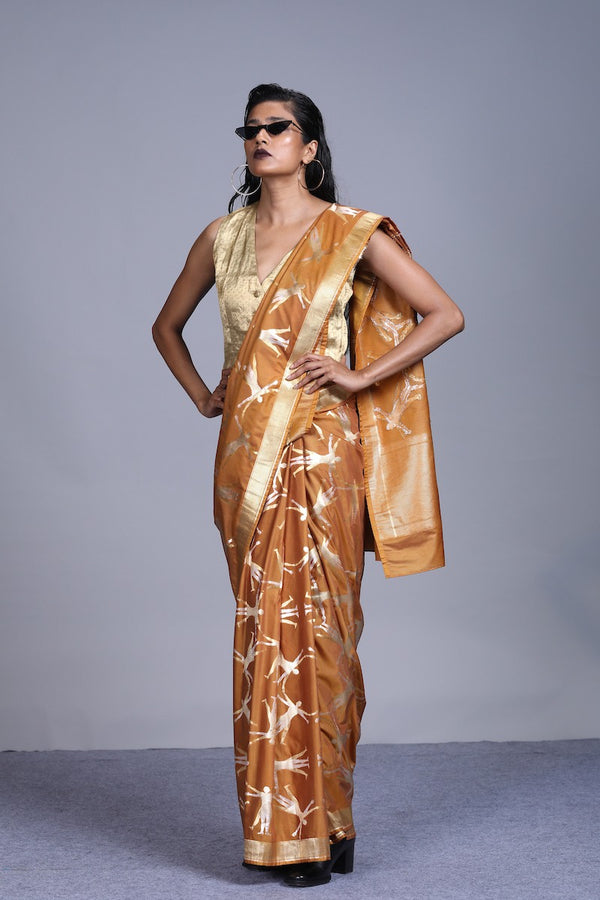 Women's Deh Gold-Silver Brocade Saree - Mustard colour