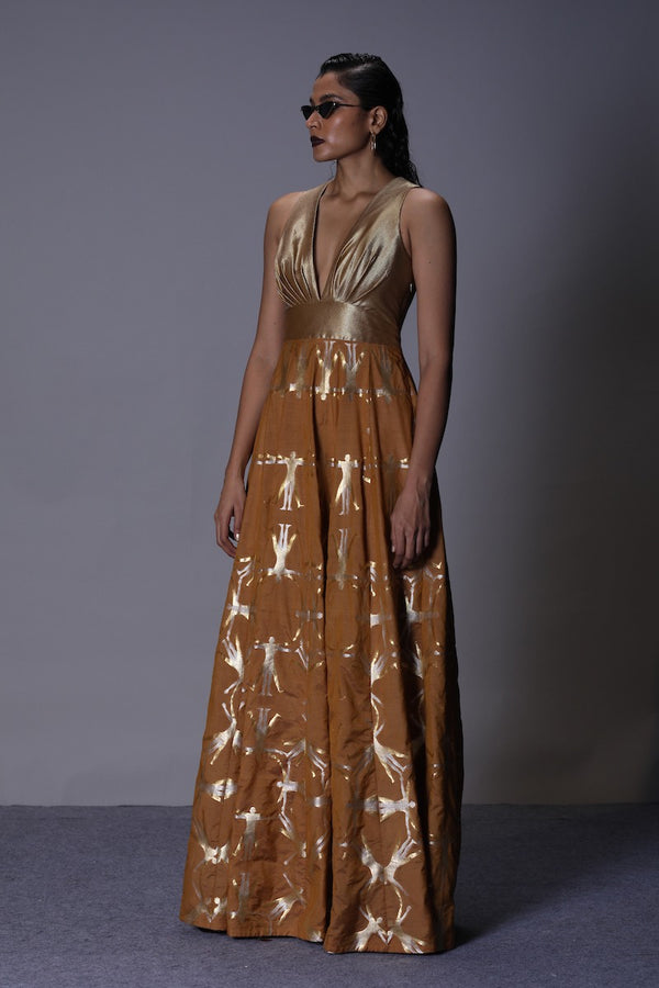 Women's Deh Gold-Silver Brocade Evening Dress - Mustard colour, Plunging neckline