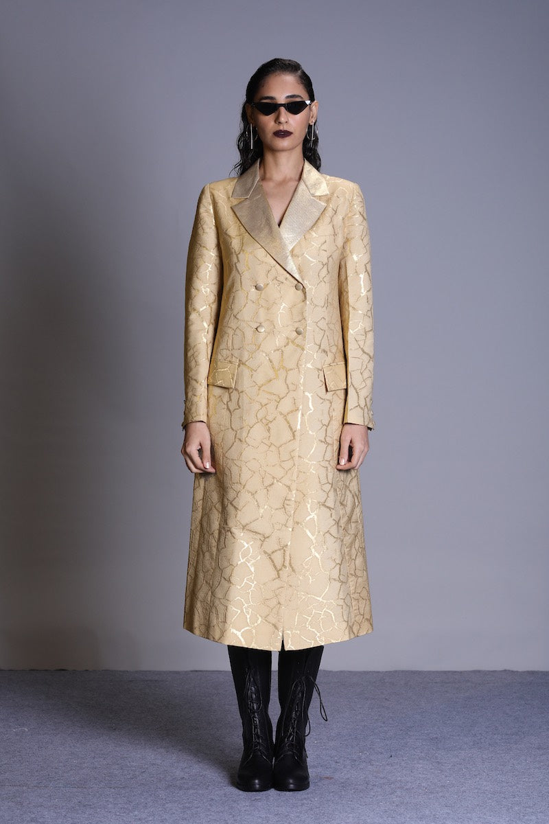 Women's Bhoomi Gold Brocade Trench -Soil Colour, Double-breasted, Gold Lapel