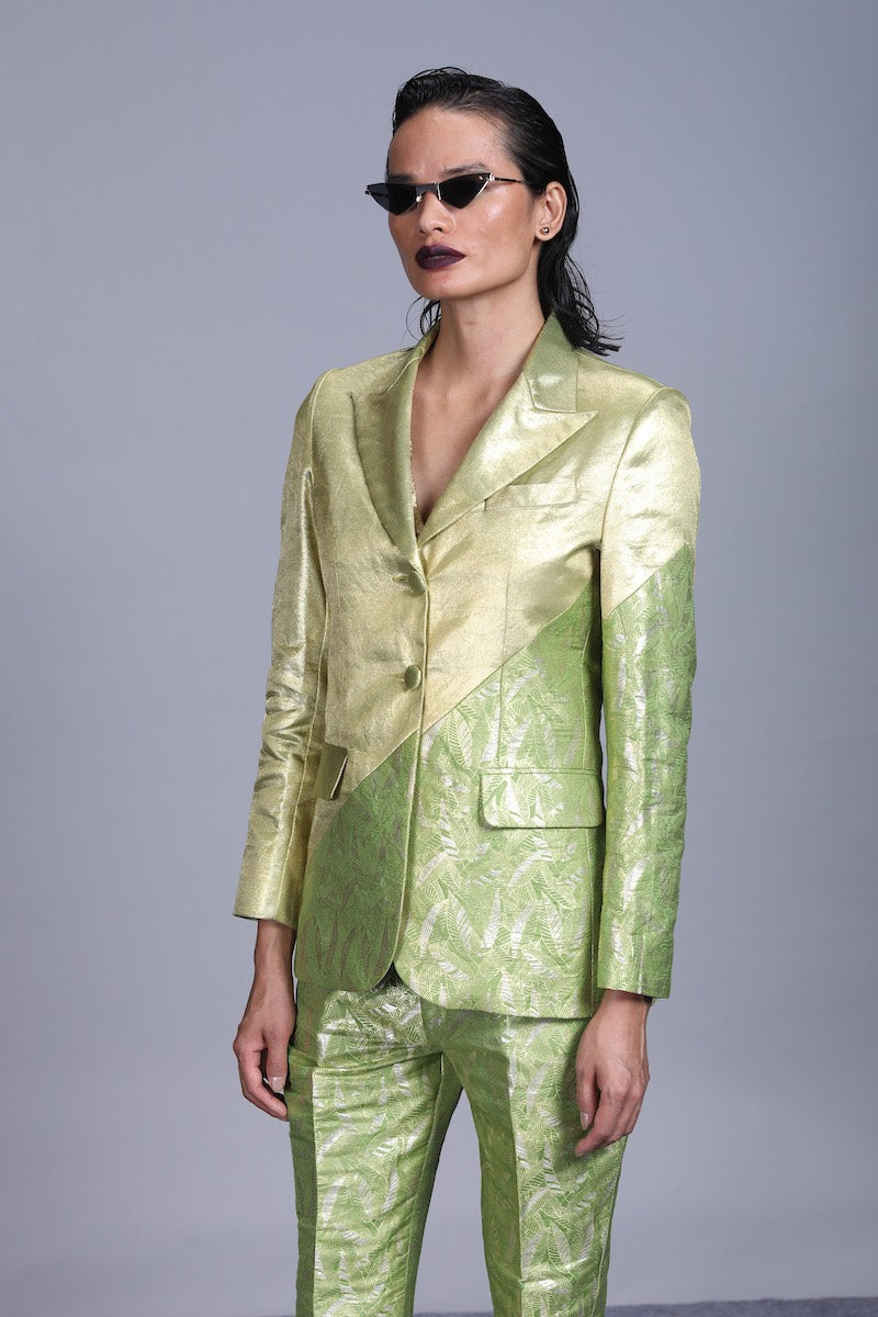 Women's Jagat Gold Silver Brocade  Jacket-  Leaf Green Colour, Single-Breasted, Two Button Asymmetric Panelled