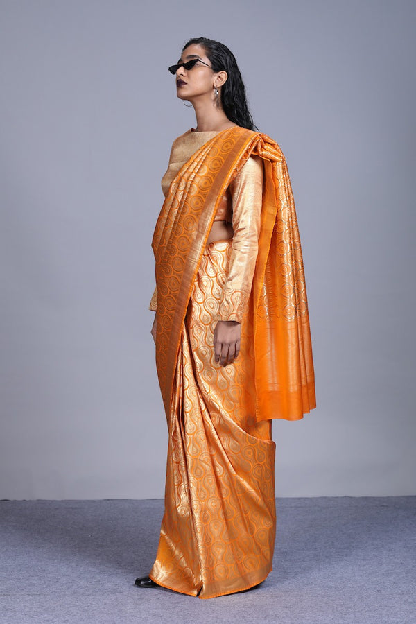 Women's Agni Gold Brocade Saree- Citrus Orange Colour