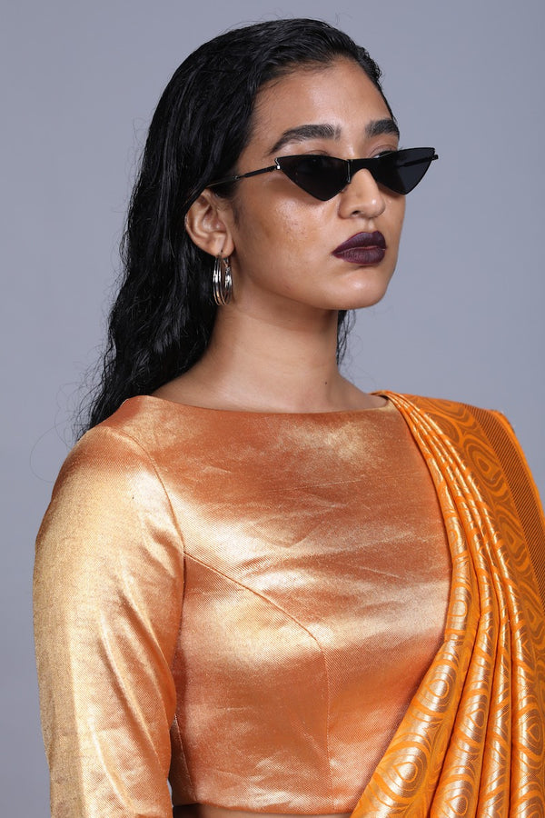 Women's Gold drill Blouse- Orange Colour, full-sleeves