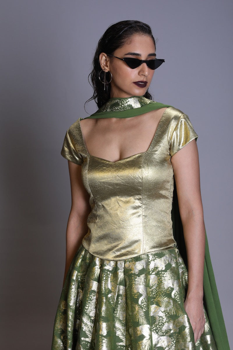 Women's Gold drill corsetted blouse-  Forest Green colour, Cap sleeves
