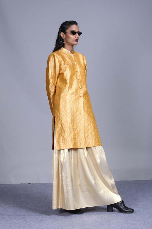 Women's Surya Gold Brocade Sherwani- Metallic Yellow colour