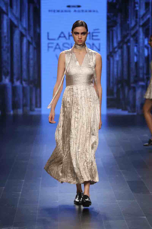 VARAK PURE METALLIC Silver Floorboard pleated long dress