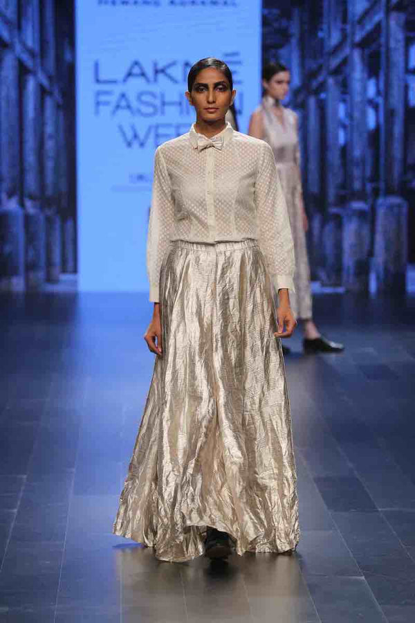 VARAK PURE METALLIC Silver windowpane checks long skirt