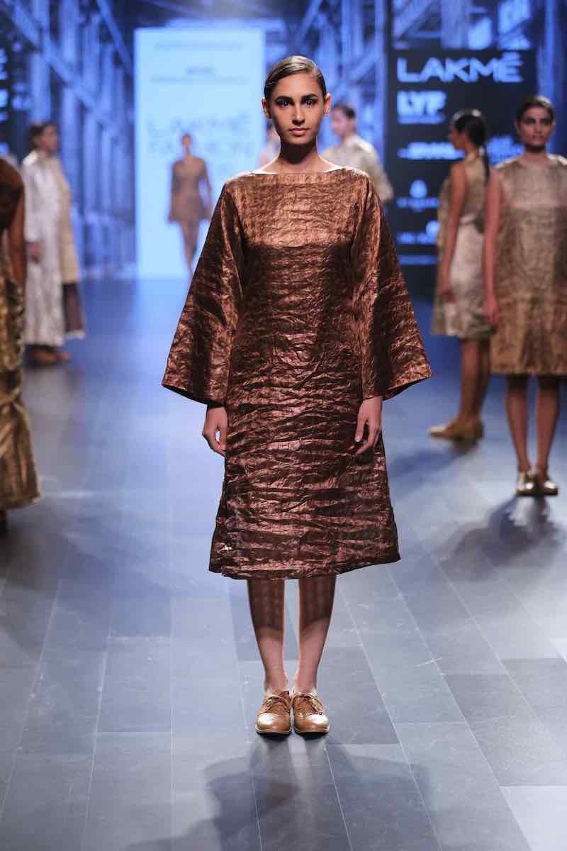 VARAK PURE METALLIC Antique copper Houndstooth bell sleeves dress