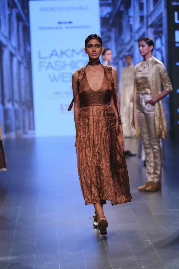 VARAK PURE METALLIC Antique copper Chevron pleated long dress