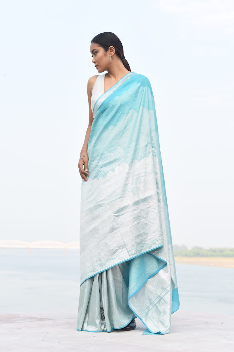 Women's Gagan Silver Brocade Saree - Gradiant Blue colour