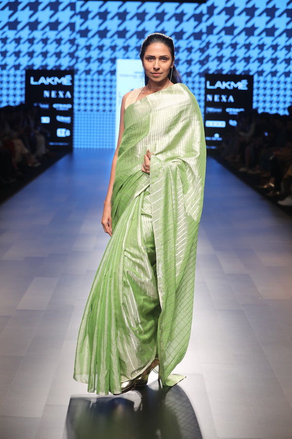 Women's UnRevive  SAREE PISTACHIO SILVER GRADUATING STRIPES