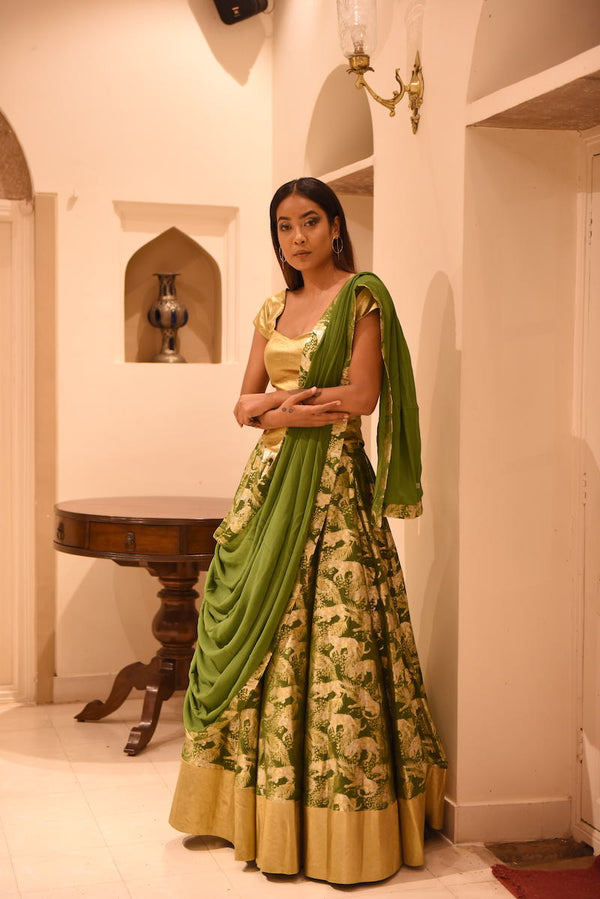 Women's Jeev Gold-Silver Brocade Lehenga - Forest Green colour