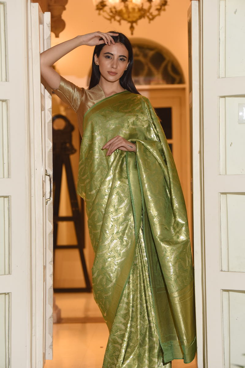 Women's Jagat Gold-Silver Brocade Saree - Leaf Green colour