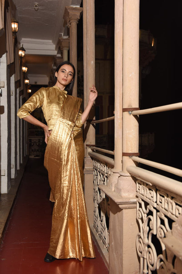 Women's Surya full-metallic Gold saree