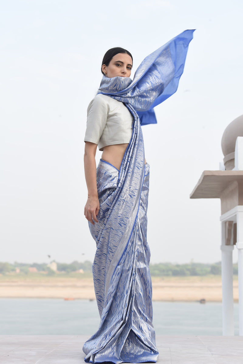 Women's udaka silver Brocade Saree- ocean blue Colour