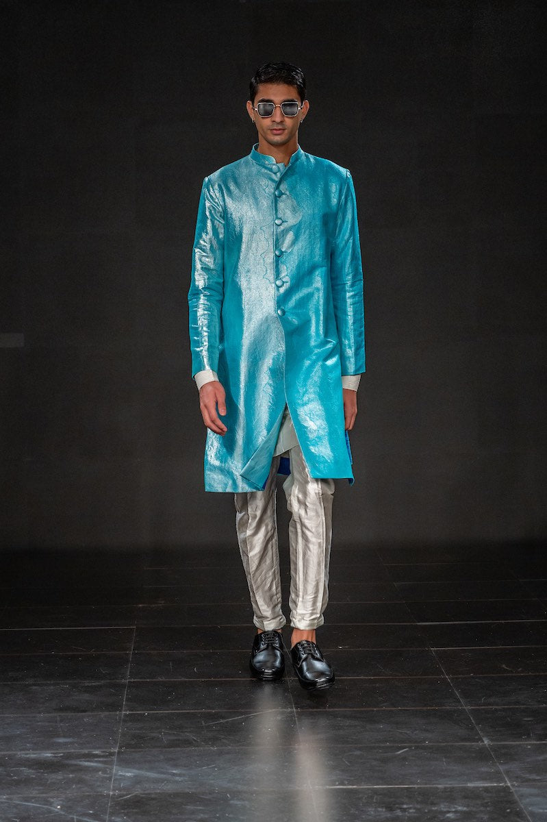 Men's Gagan Silver Brocade Sherwani - Gradiant Blue Colour with matching Kurta-Pyjama