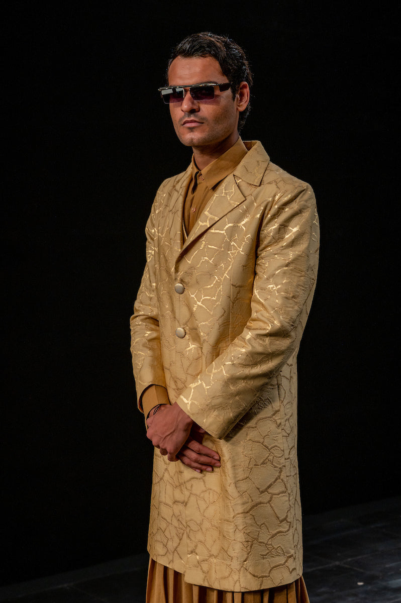 Men's Bhoomi Gold Brocade Long Jacket- Soil colour, single-breasted, Two button, full-sleeves