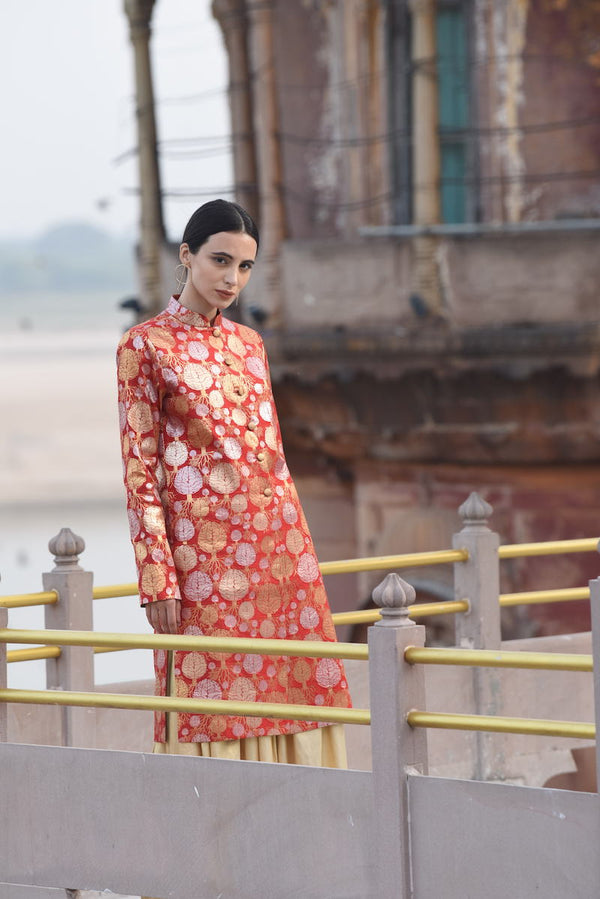 Women's Mano Gold Brocade Sherwani- Red colour