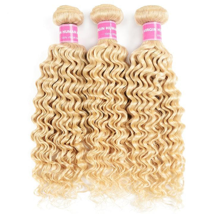 Chiara Series | 613 Blonde Color Curly Wave Hair Brazilian Human Virgin Hair 1 Bundle/Lot | Zayn Ting