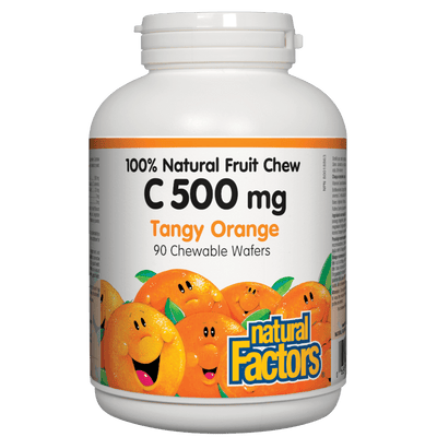 C 500 mg 100% Natural Fruit Chew, Tangy Orange Chewable Wafers