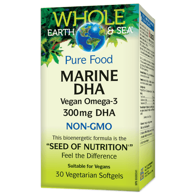 Pure Food Marine DHA 300 mg Vegan Omega-3, Whole Earth & Sea Vegetarian Softgel