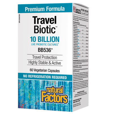 Travel Biotic BB536  10 Billion Live Probiotic Cultures Vegetarian Capsules