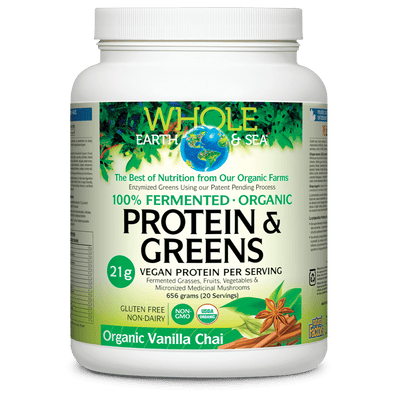 Fermented Organic Protein & Greens, Organic Vanilla Chai, Whole Earth & Sea Powder