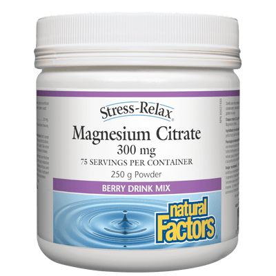 Magnesium Citrate 300 mg, Berry Flavour, Stress-Relax Powder