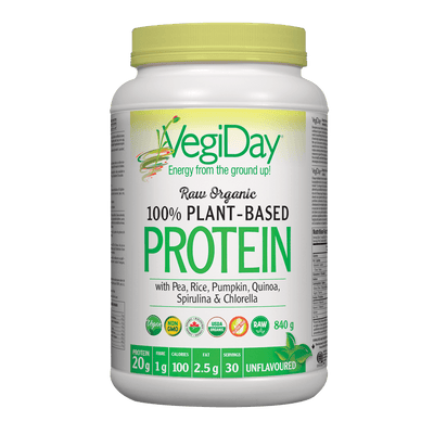 VegiDay Raw Organic 100% Plant-Based Protein wtih Pea, Rice, Pumpkin, Quinoa, Spirulina & Chlorella Unflavoured Powder