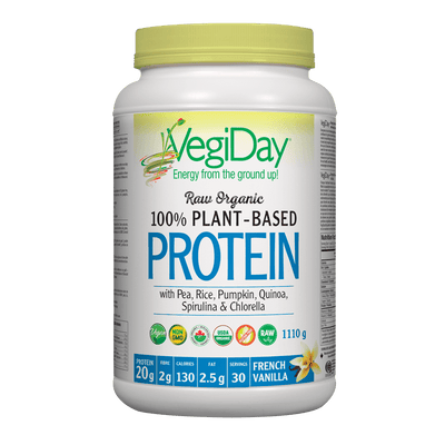 VegiDay Raw Organic 100% Plant-Based Protein wtih Pea, Rice, Pumpkin, Quinoa, Spirulina & Chlorella French Vanilla Powder