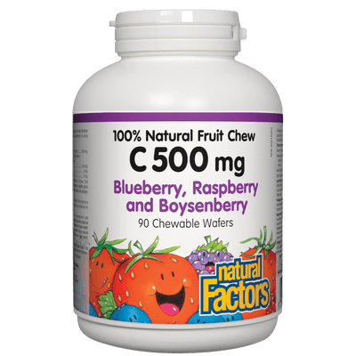 C 500 mg 100% Natural Fruit Chew, Blueberry, Raspberry and Boysenberry Chewable Wafers