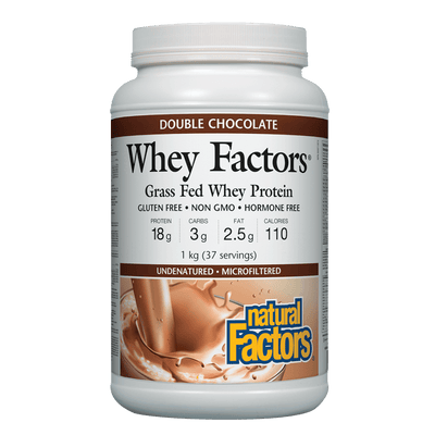 Whey Factors 100% Natural Whey Protein, Double Chocolate Powder