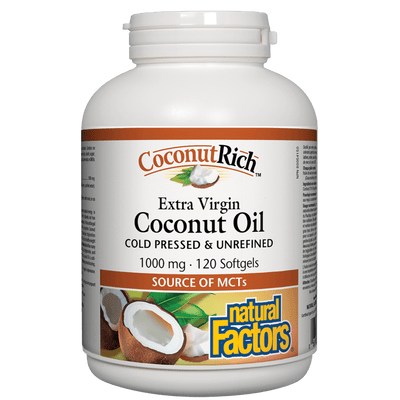 CoconutRich Extra Virgin Coconut Oil 1000 mg Softgels