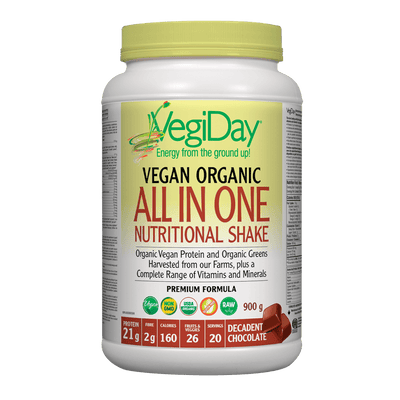 VegiDay Vegan Organic All in One Nutritional Shake Decadent Chocolate Powder