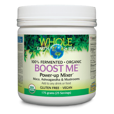 Boost Me Power-up Mixer Maca, Ashwagandha & Mushrooms, Whole Earth & Sea Powder