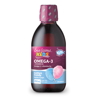 Omega-3 EPA + DHA with Vitamin D3, Cotton Candy, Sea-licious Kids Liquid