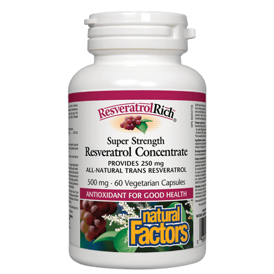 ResveratrolRich Super Strength Resveratrol Concentrate 500 mg Vegetarian Capsules
