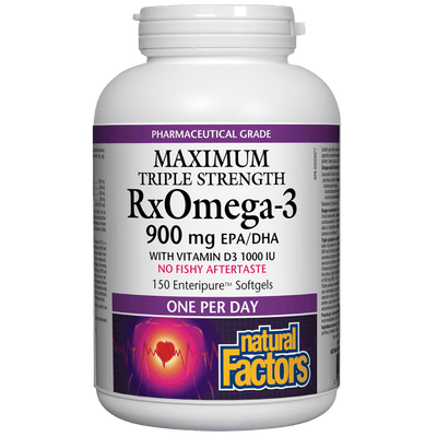 RxOmega-3 with Vitamin D3 Maximum Triple Strength  900 mg Enteripure Softgels