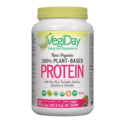 VegiDay Raw Organic 100% Plant-Based Protein wtih Pea, Rice, Pumpkin, Quinoa, Spirulina & Chlorella Very Berry Powder