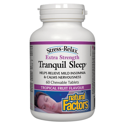 Tranquil Sleep Extra Strength, Tropical Fruit Flavour, Stress-Relax Chewable Tablets