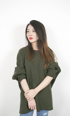 Oversized Sweater - Olive Green