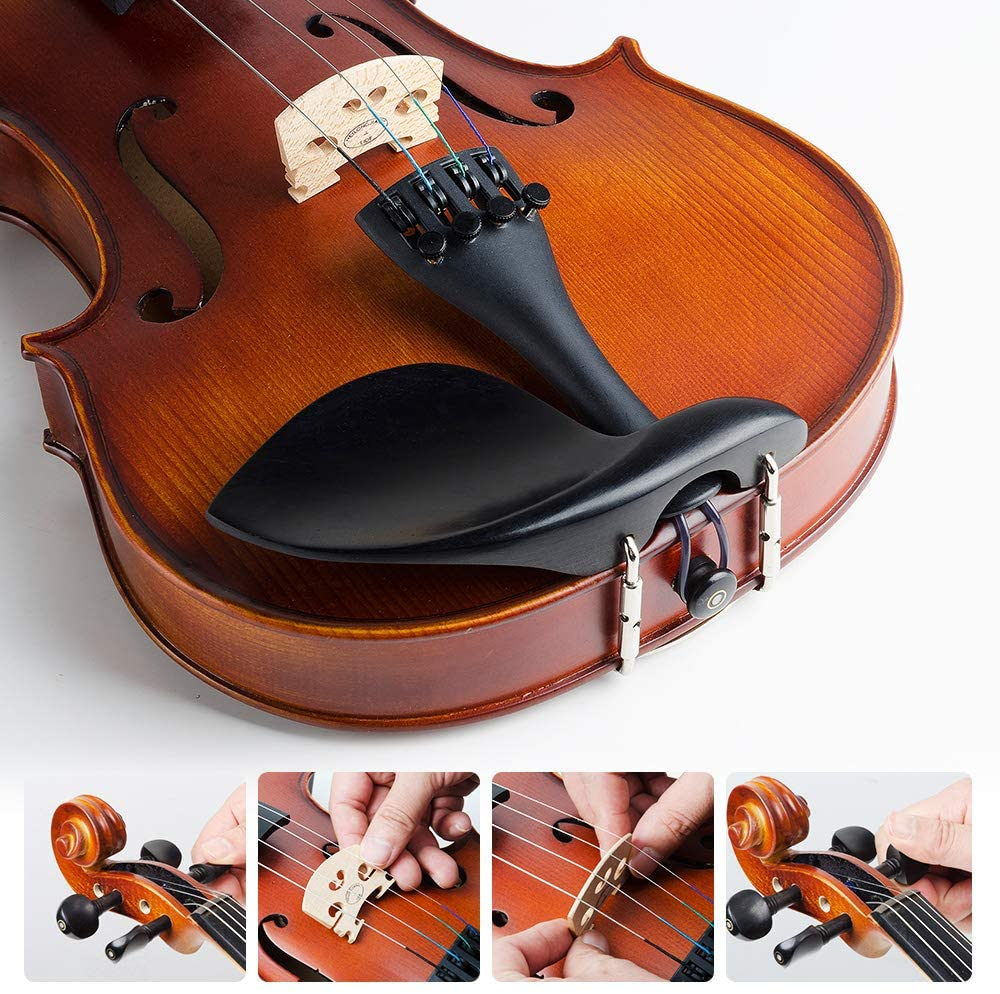 Beginner Violin Vangoa Acoustic Violin 4/4, Spruce Top & Ebony Fitting, Solid Wood Violin Outfit for Beginners, 4/4 Full size