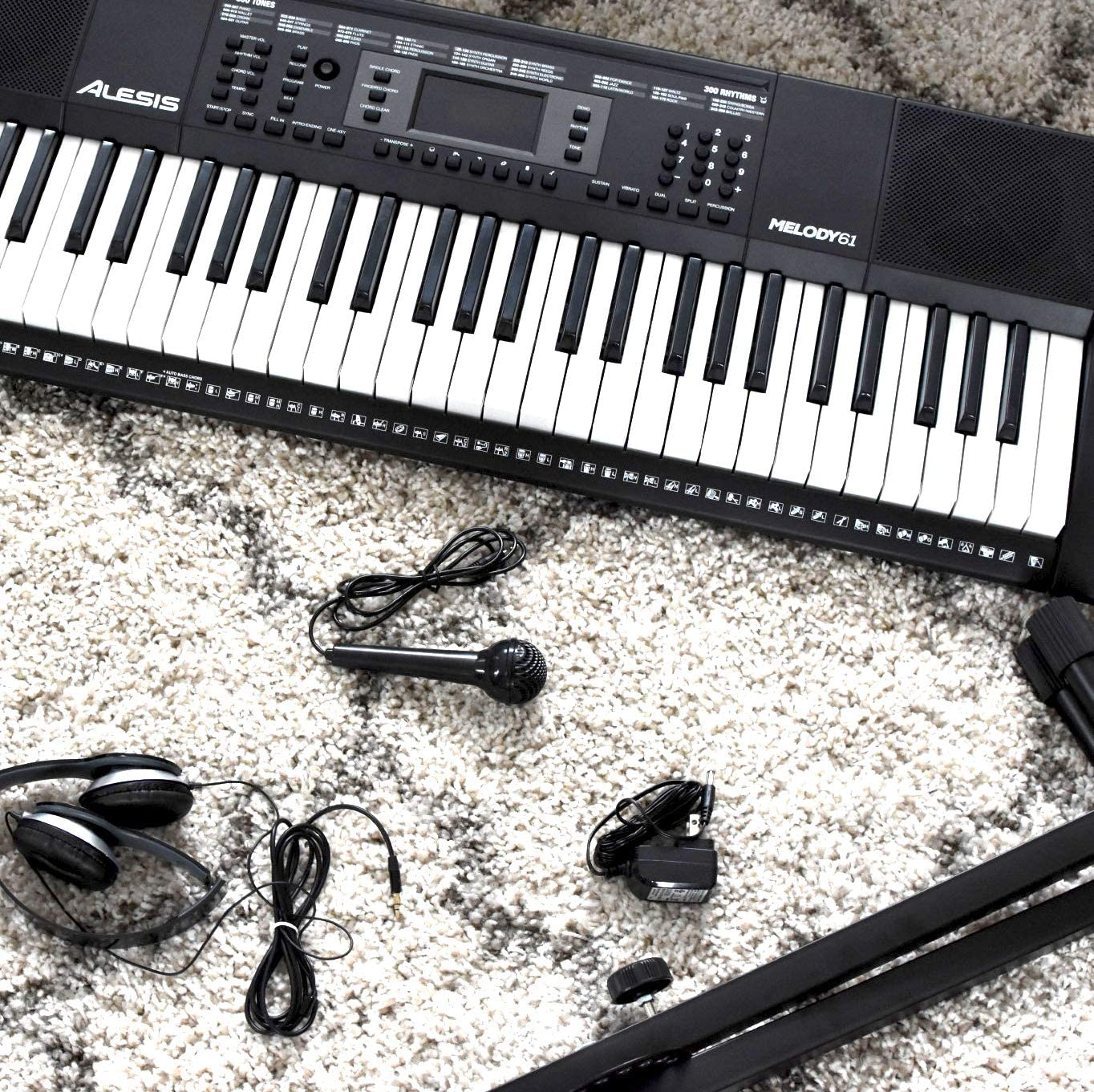 Beginner Keyboard Alesis Melody 61 MKII | 61-Key Portable Keyboard with Built-In Speakers, Headphones, Microphone, Piano Stand, Music Rest and Stool.
