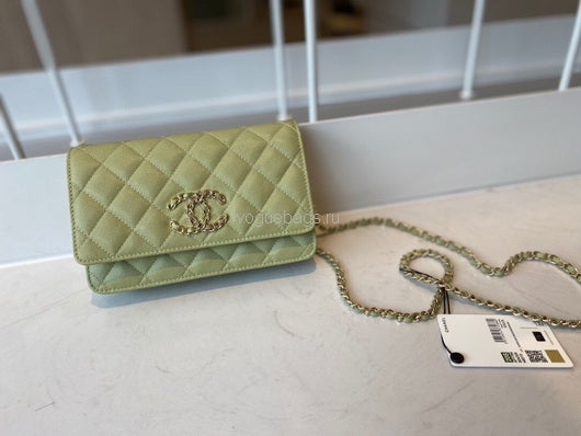Chanel AP1794  Wallet on Chain B04335 Light green