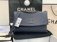 Chanel A8095 Quilted  Triple Flap  Calfskin  handbag Navy blue