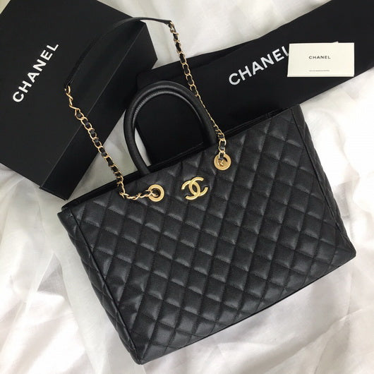 Chanel A93525  Small shopping tote  Quilted Caviar Leather  bag Black