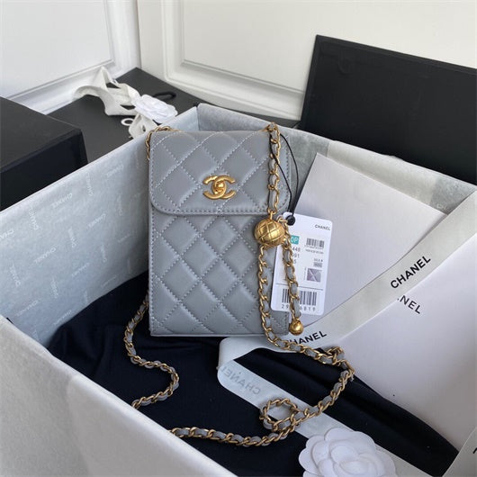 Chanel AP1448  Small Classic Box with Chain Lambskin Bag Gray