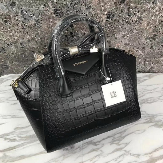 Givenchy Shoulder Tote Handbag 50933 black crocodile leather