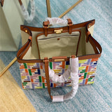 FENDI 8BH374 PEEKABOO X-TOTE canvas  handbag Beige Multicolor